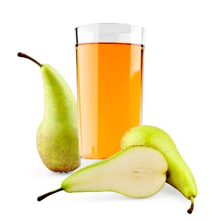 Pear juice on white background photo