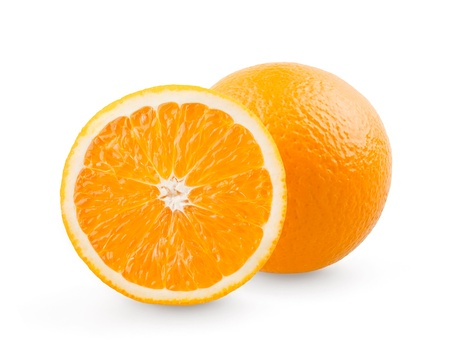 naranjas fruta: Naranja y corte en el fondo blanco Foto de archivo