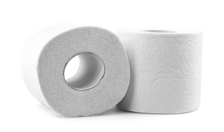 Toilet paper on white background Stock Photo