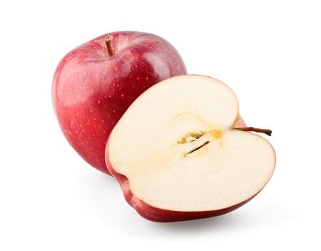 manzana roja: Manzana roja y la otra mitad en el fondo blanco Foto de archivo