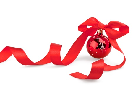 christmas bow: Christmas red ball with ribbon on white background Stock Photo