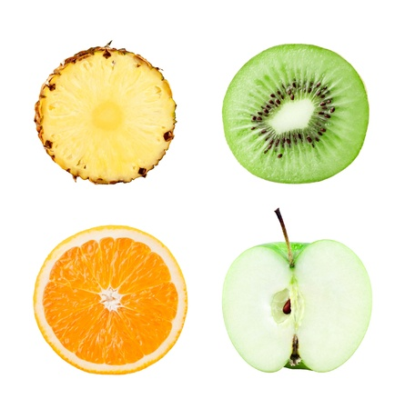 Fruits slices on white background photo