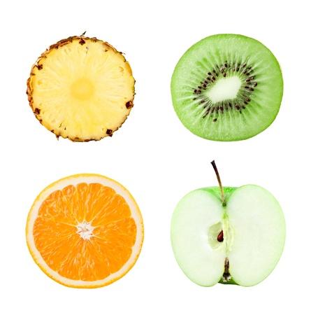 Fruits slices on white background photo