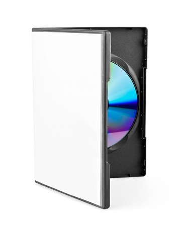 case: DVD disk on white background