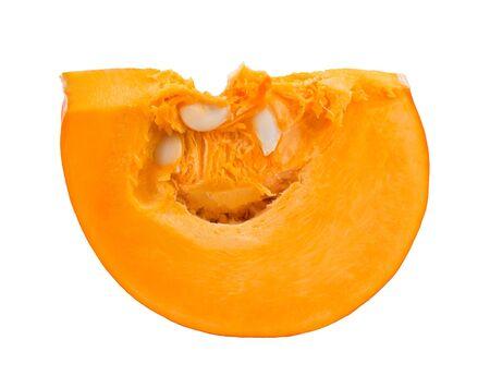 Pumpkin slice on white background photo