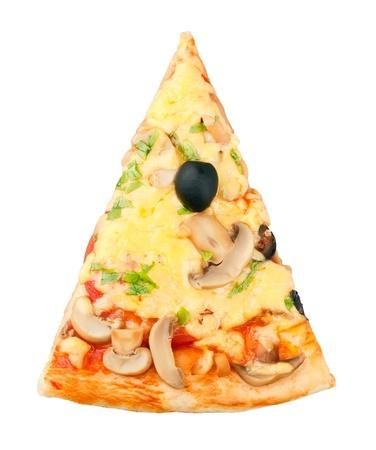 Stück Pizza auf weißem Hintergrund