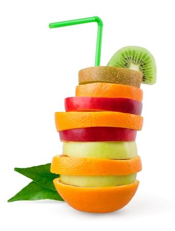 mixed fruits: Tropical mixed fruit on white background