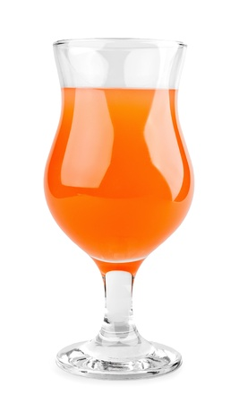 verre de jus d orange: Cocktail orange sur fond blanc
