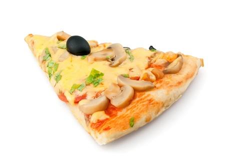 rebanada de pizza: Pedazo de pizza en fondo blanco