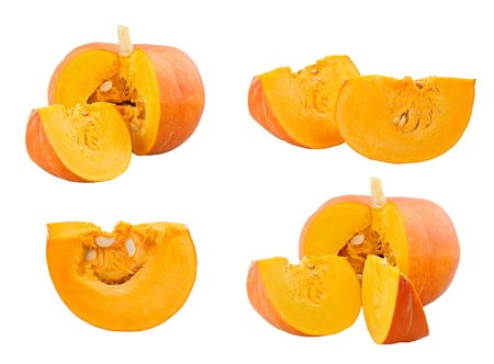 Pumpkin and slices on white background