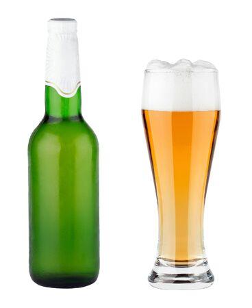 glass beer bottle: Glass and bottle of light beer on white background