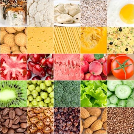 Collage of healthy food backgrounds photo