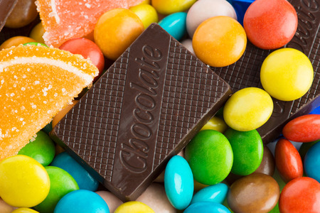 candy bar: Mixed colorful sweets background