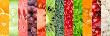 mixed vegetables: �ollage with different fruits, berries and vegetables