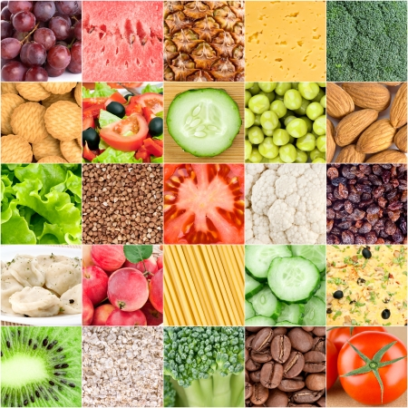 Collection of healthy food backgrounds photo