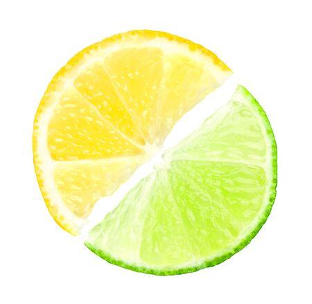 lemon lime: Fresh slices of lime and lemon on white background