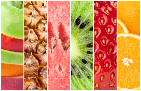 Healthy fresh fruits background