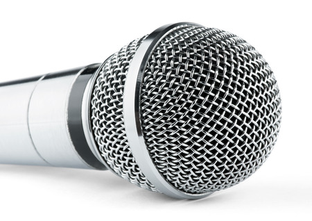 Silver microphone on a white background
