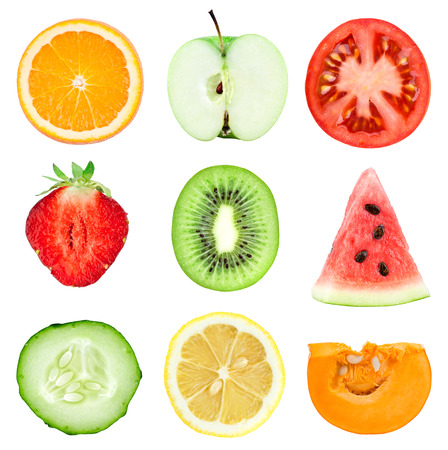 cucumber: Collection of fresh fruit and vegetable slices on white background. Orange, kiwi, lemon, apple, strawberries, watermelon, cucumber, tomato and pumpkin