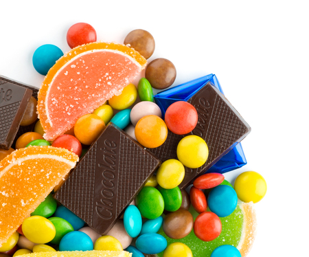 candy bar: Mixed colorful candies on white background  Stock Photo