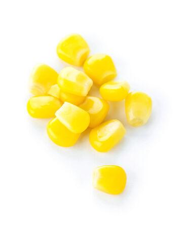 tinned: Sweet kernel corn on white background