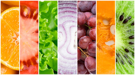 fresh green: Healthy fresh food background. Collection of fruits and vegetables