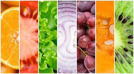 comida saludable: Saludable fondo de alimentos frescos. Colecci�n de frutas y verduras