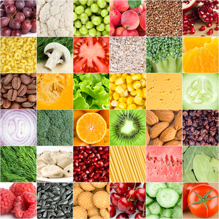 food collage: Collection of healthy fresh food backgrounds