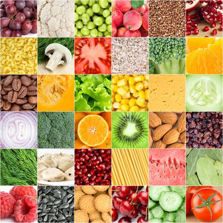 Verzameling van gezond vers voedsel achtergronden Stockfoto