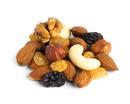 Healthy dried fruits and nuts on white background 版權商用圖片