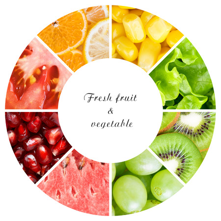 mixed fruits: Fruits and vegetables. Healthy food concept
