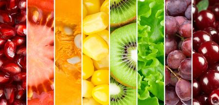 arco iris: Fondo de la comida sana. ollection con diferentes frutas, bayas y vegetales