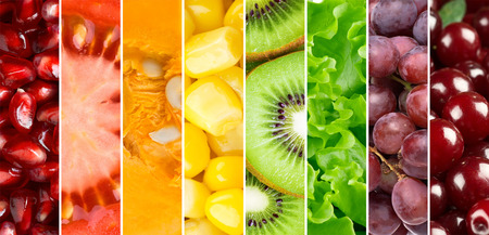 rainbow: Healthy food background. �ollection with different fruits, berries and vegetables