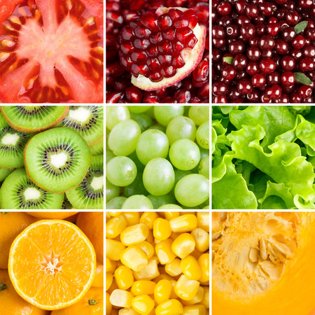 Healthy food background. �ollection with different fruits, berries and vegetables photo