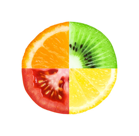 Mixed slice of fruit and vegetable. Kiwi, orange, lemon and tomato photo