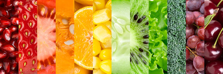 food collage: Healthy food background. �ollection with different fruits, berries and vegetables