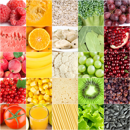 Healthy food background. �ollection with different color fruits, berries, vegetables and different fresh food Stock Photo