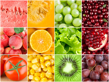 Healthy food background. Ñollection with different color fruits, berries and vegetables photo