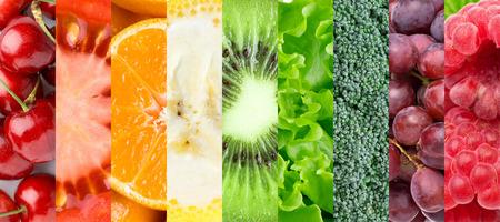 verduras verdes: Fondo de la comida sana. ollection con diferentes frutas, bayas y vegetales