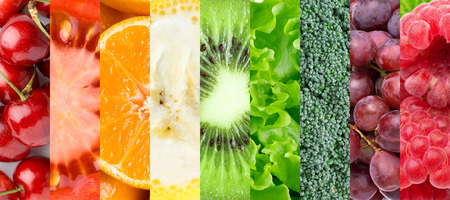 food collage: Healthy food background. Ñollection with different fruits, berries and vegetables