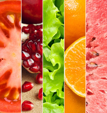 Healthy food background. Ñollection with different fruits and vegetables Stock Photo