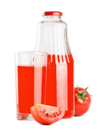 juice bottle: Tomato juice bottle on white background