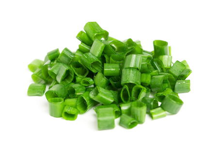 Chopped green onions on white background Stock Photo