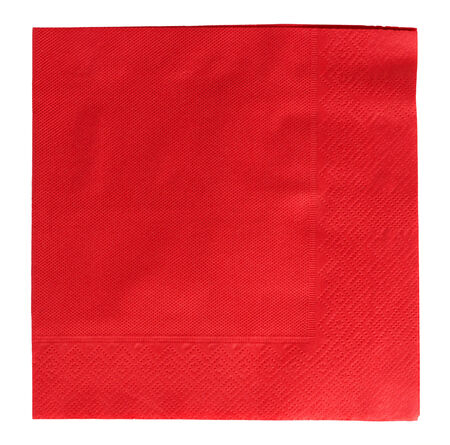 serviette: Red square napkin on white background