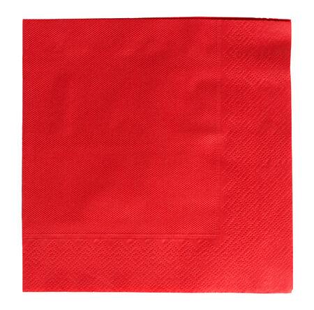 servilleta de papel: Servilleta cuadrado rojo sobre fondo blanco
