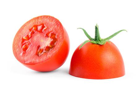 tomato slice: Fresh tomato slice on white background