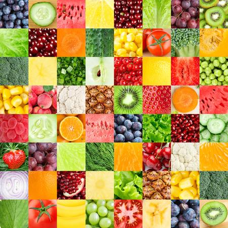 coliflor: Colección de frutas frescas saludables y hortalizas fondos Foto de archivo