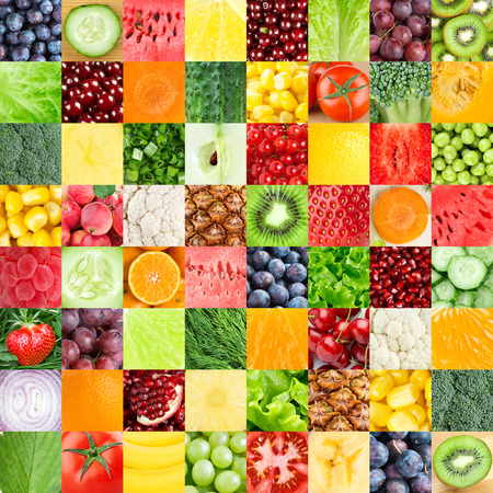 macro: Collection of healthy fresh fruits and vegetables backgrounds