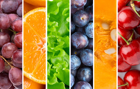 mixed fruit: Healthy food background. Collection with different fruits, berries and vegetables Stock Photo