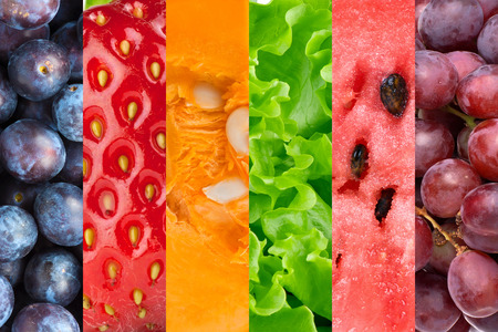 Healthy food background. Collection with different fruits, berries and vegetables 版權商用圖片